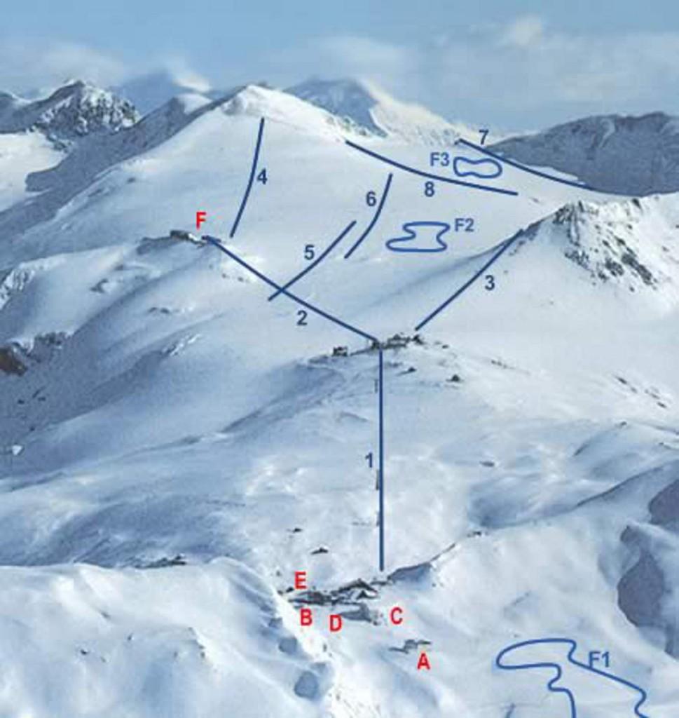 Sci estivo Passo Stelvio: la Mappa delle piste sul ghiacciaio dello stelvio