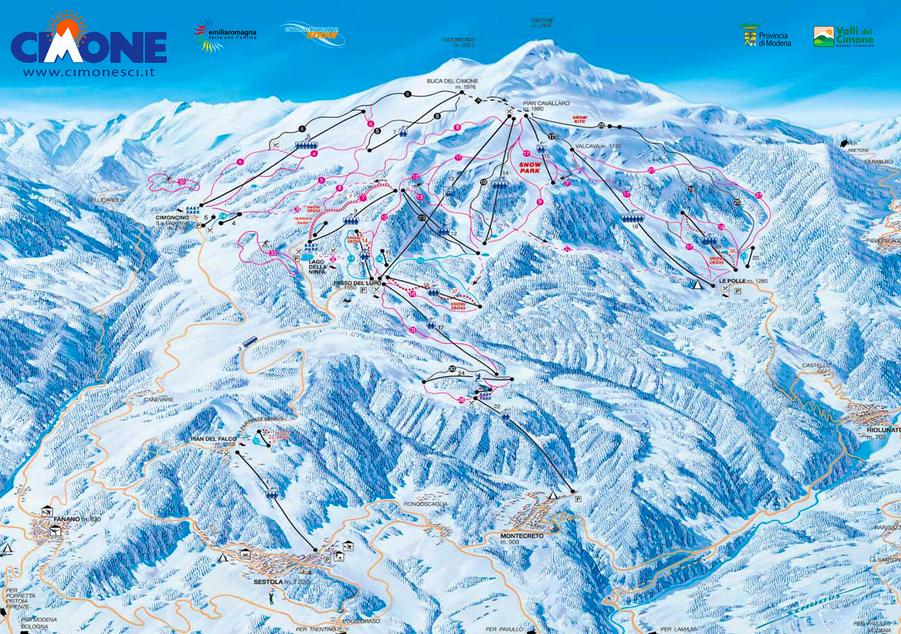Sciare a Sestola Cimone: Cartina delle piste del Comprensorio Monte Cimone - Sestola
