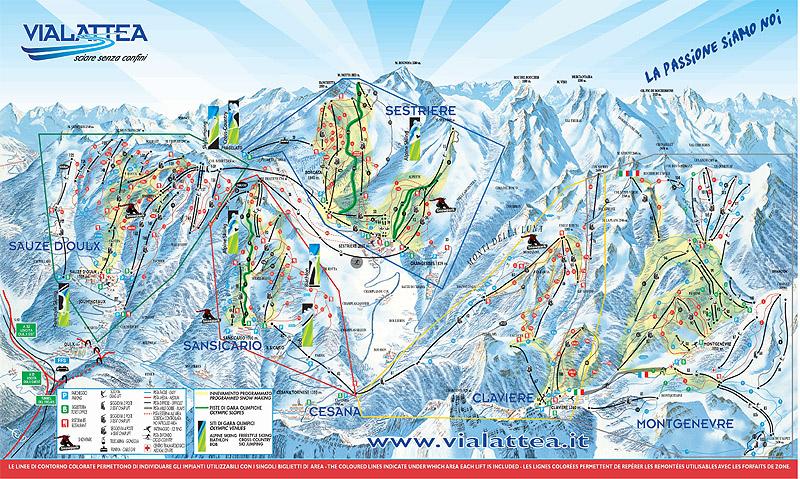 cartina piste via Lattea - Mappa Piste SeStriere