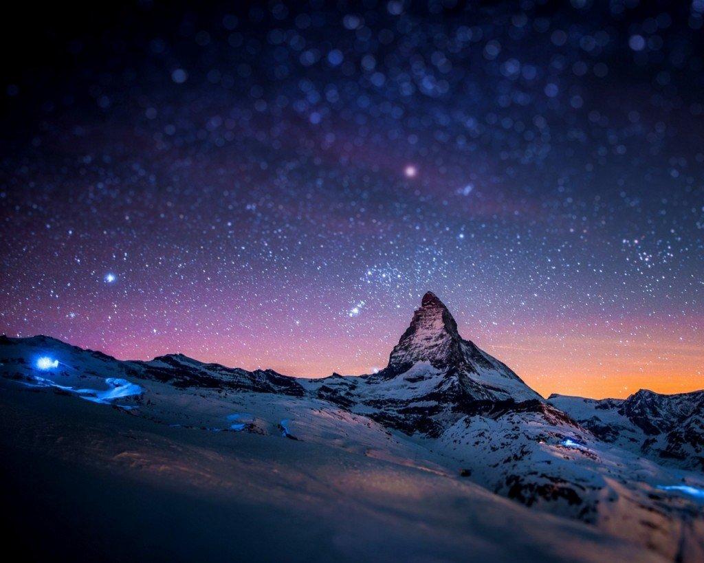 cervino in notturna da Zermatt