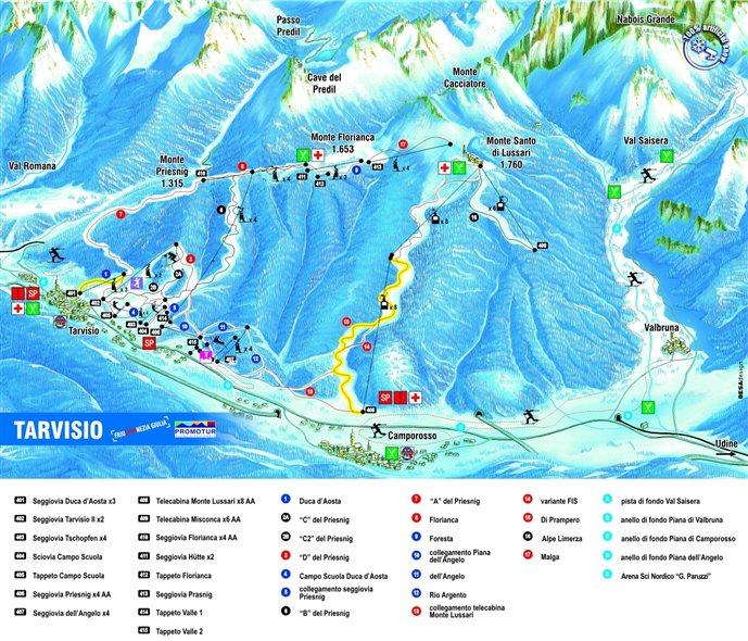 sciare a tarvisio: cartina delle piste