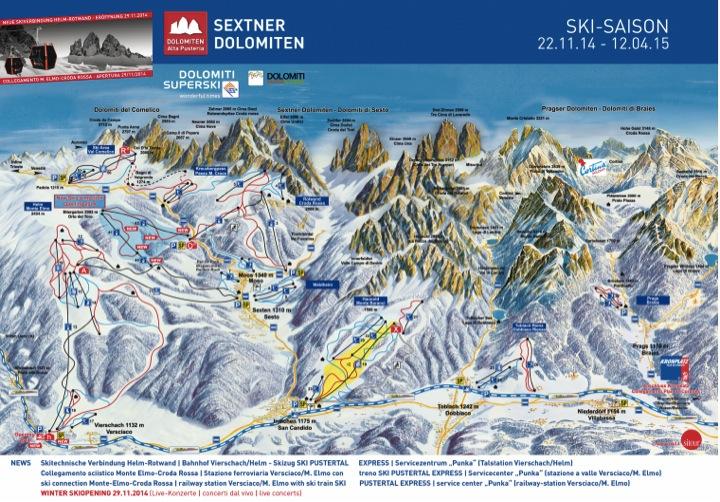 Sciare a Sesto Pusteria: la mappa delle piste da sci
