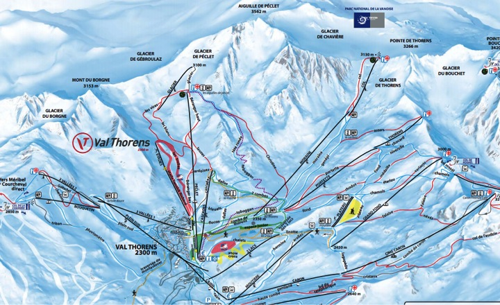 Mappa delle piste di val thorens francia skimania - Residence sulle piste da sci con piscina ...