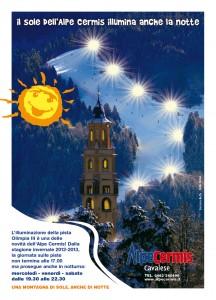 Sciare a Cavalese Alpe Cermis: la pista Olimpia illuminata in notturna