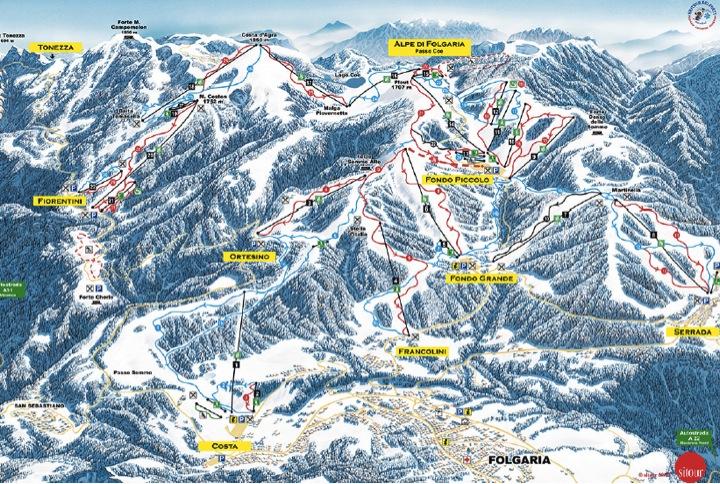 Sciare a folgaria: cartina delle piste di folgaria