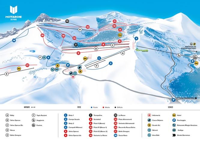 mappa piste Mottarone ski