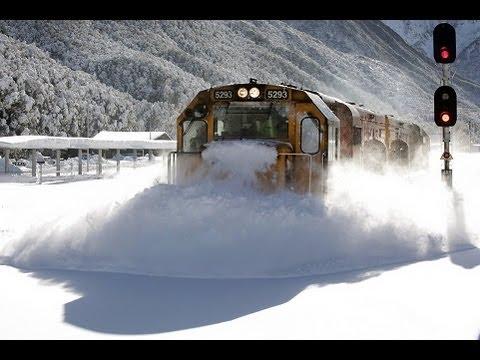 Spectacular footage Train Plowing Through Deep Snow Arthur's Pass, New Zealand