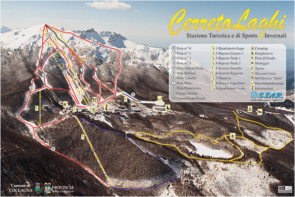 Cerreto Laghi - Cartina impianti