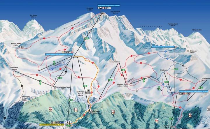 Mappa piste Corvatsch e Sils Maria Fuertschellas