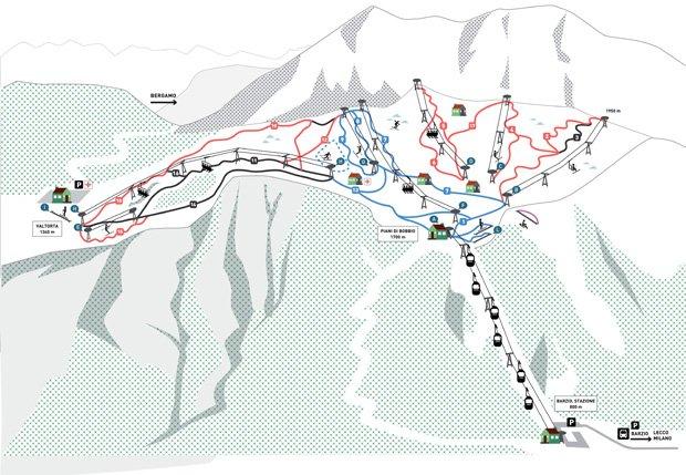Sciare ai Piani di Bobbio Valtorta: la mappa delle piste