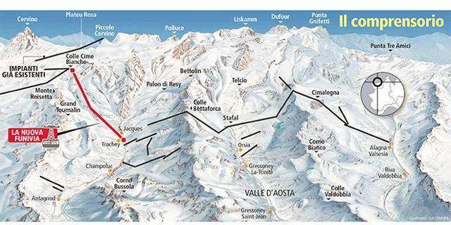 Photo of Progetto del collegamento Cervinia Champoluc e Monterosa Ski