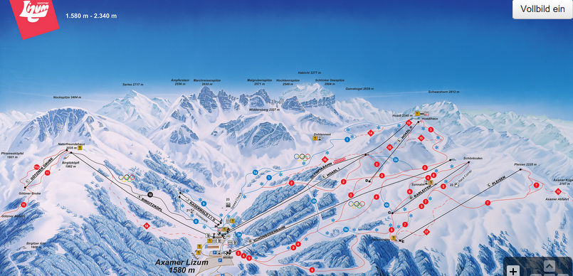 Sciare Axamer Lizum: mappa delle piste