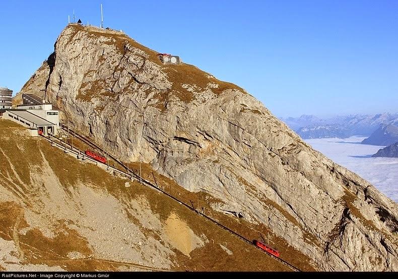 The World's Steepest Cogwheel Railway at Mount Pilatus.!