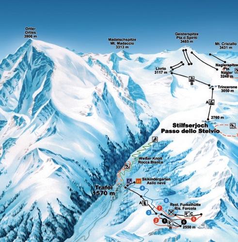 Sciare a Trafoi in Val Venosta - Mappa piste trafoi
