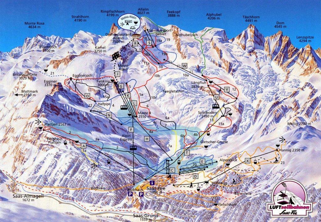 piste da sci del comprensorio di Saas Fee in Svizzera.