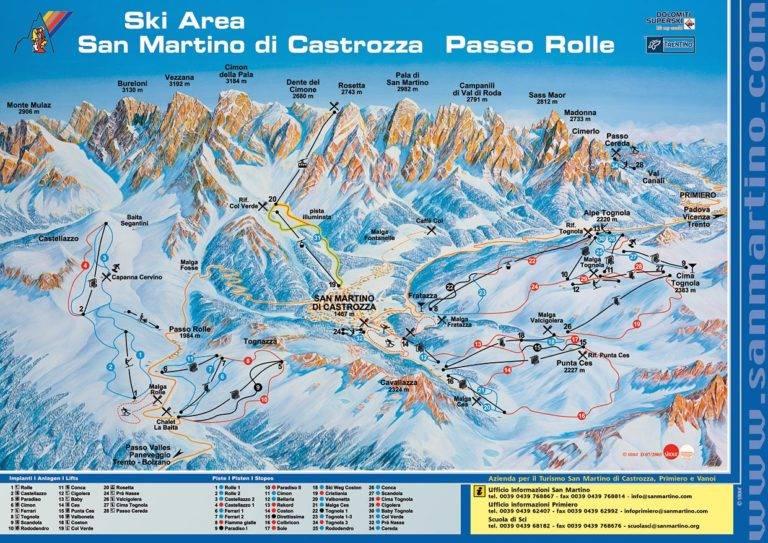 Mappa piste comprensorio San Martino di Castrozza Passo Rolle