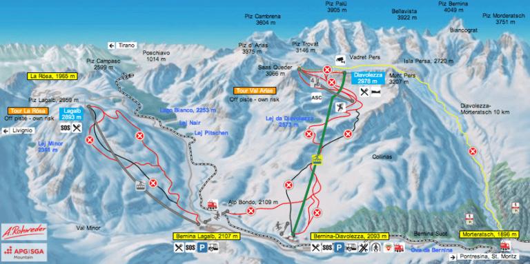 Ecco la cartina completa con la mappa delle piste di Diavolezza e del Lagalb, in Svizzera, sul Passo del Bernina.