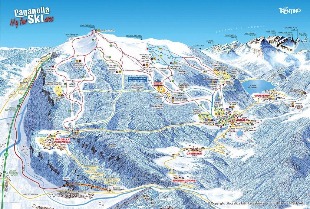 Andalo Paganella cartina delle piste