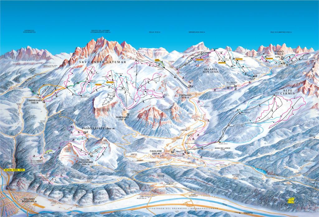 mappa piste ski centre latemar