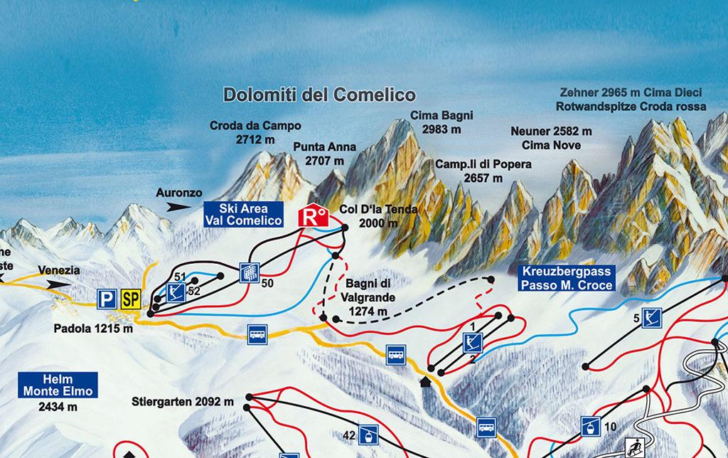 mappa piste val comelico