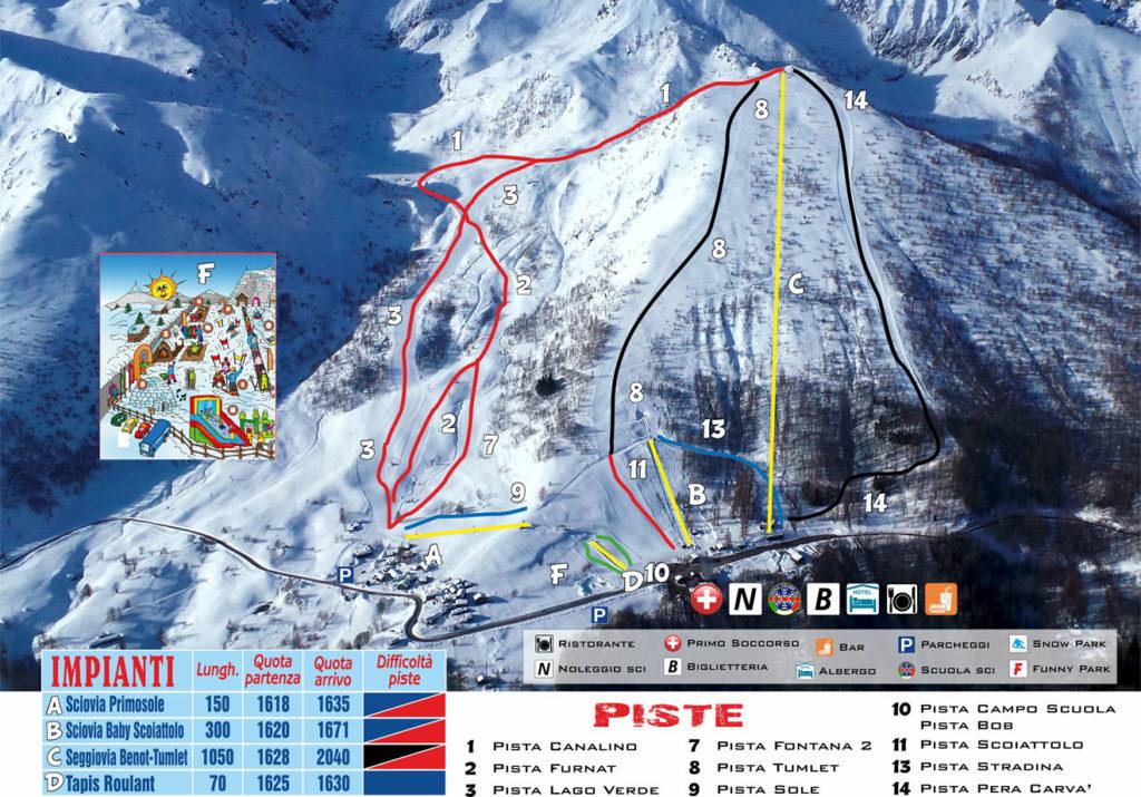 Cartina piste da sci usseglio