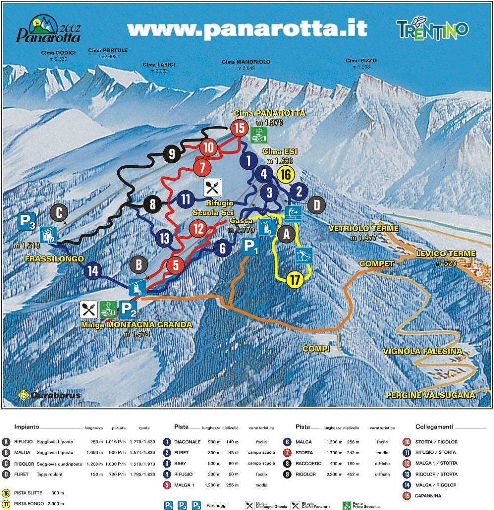 cartina piste panarotta 2002